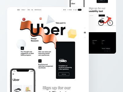 Uber Survey Page - Website UI Design uber ride sharing app lyft grab car bike car rental ui ux minimal website creative design app landing page colorful abstract 3d geometric art