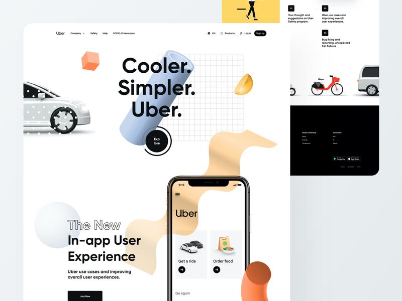 Uber Survey Result Page - Website UI Design mvp market product startup company geometric art 3d abstract colorful landing page app design creative website minimal ux ui car rental lyft grab ride sharing app uber