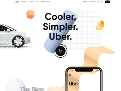 Uber Survey Result Page - Website UI Design mvp market product startup company geometric art 3d abstract colorful landing page app design creative website minimal ux ui car rental lyft grab ride sharing app uber