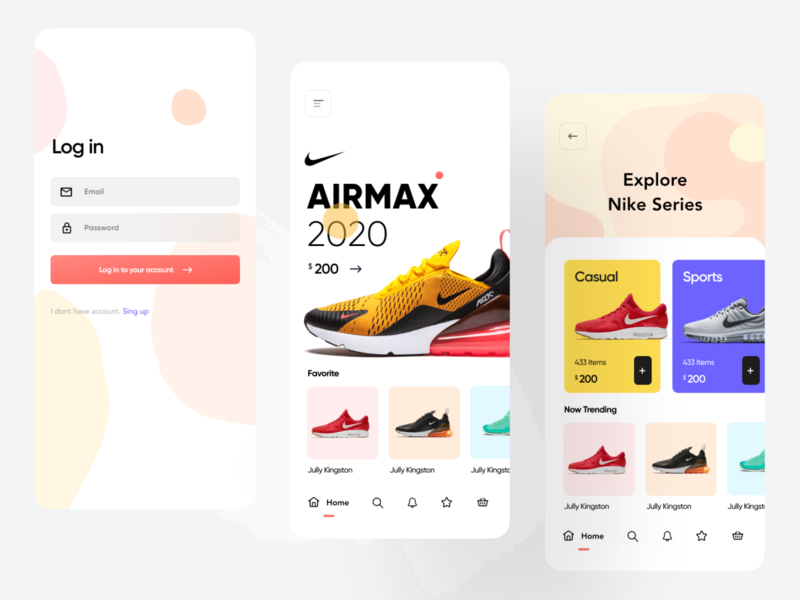 Shoe Shop Mobile App UI Design shop shopify online shopping color palette web app ios android hybrid ecommerce ui ux running shoes nike app nike air max jordan mobile app ui mobile icon design app animation
