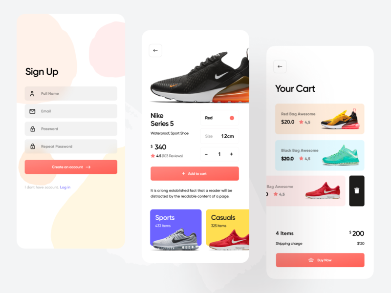 Shoe Shop Mobile App UI Design shop shopify online shopping color palette web app ios android hybrid ecommerce ui ux running shoes nike app nike air max jordan mobile app ui mobile icon design app animation