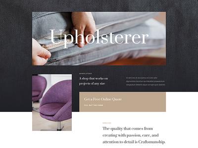 Upholsterer Layout pack | Divi divi divan couch decoration home decor furniture upholstery graphic design layout design high contrast typography website ui ux minimal design creative