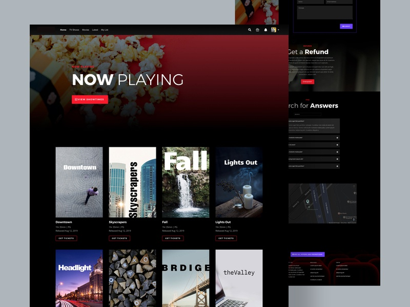 Movie Theatre layout pack | Divi landing page online movie stream stream film tv app serial tv show netflix movie graphic design layout design high contrast typography website ui ux minimal design creative