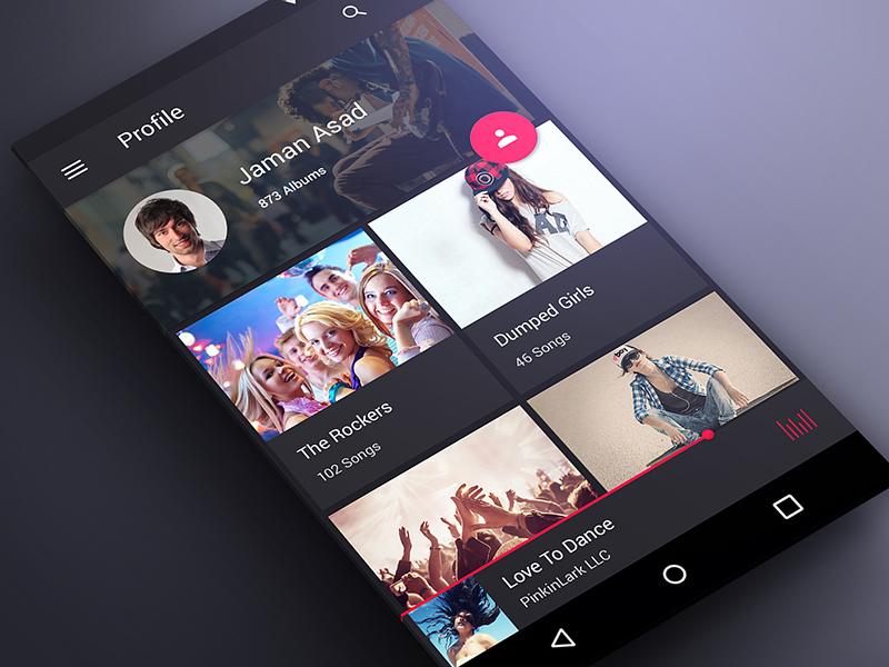 Profile Screen for Music App in Material Design