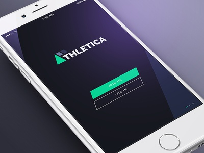 Athletica Home Page - Free Athletics App screen home athletica athlet training sport mobile ios app user interface typography ui