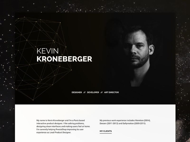Personal Site | Dark material modern ux ui typography black dark one-page web website personal high contrast