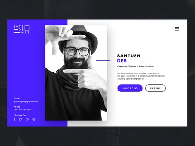 Personal VCard simple clean 2016 modern ux ui web site resume vcard personal portfolio