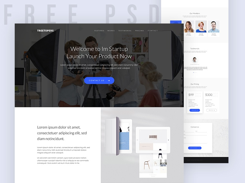 Freebie | Start-up Landing Page homepage ui web startup download blue colorful inspiration free psd freebie visual design website