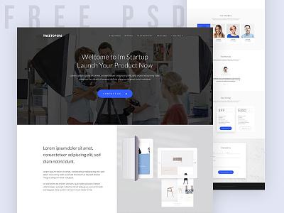 Freebie | Start-up Landing Page homepage ui web startup download blue colorful inspiration free psd freebie visual design website