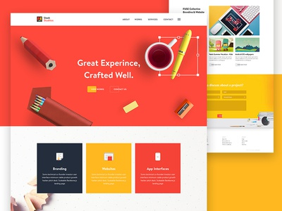 SLEEK Studios - Website Design Concept creative design 2017 trend studio product landing page website ux ui minimal colorful