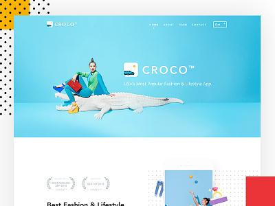 CROCO - App Landing Website phone design creative landing page website web ux mobile ui andorid ios app wip