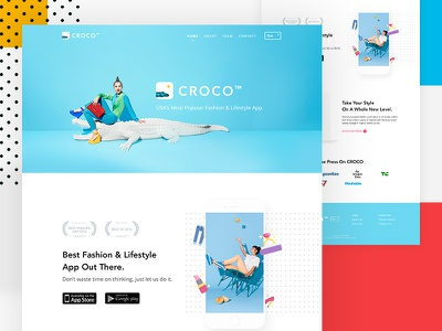 CROCO - App Landing Website minimal app ios andorid mobile ui ux web website landing page creative design phone