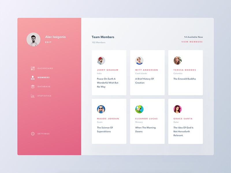 Conceptual Dashboard UI | Team Members Screen by Ali Sayed