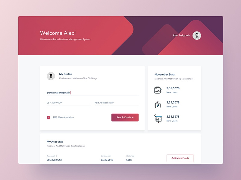Profile UI   Concept app ux ui form material abstract gradient cart payment dashboard profile colorful