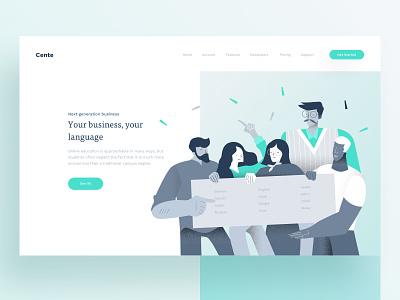 Sneak Peak from Cente team minimal trend 2019 fluid gradient ux website web design ui illustration vector