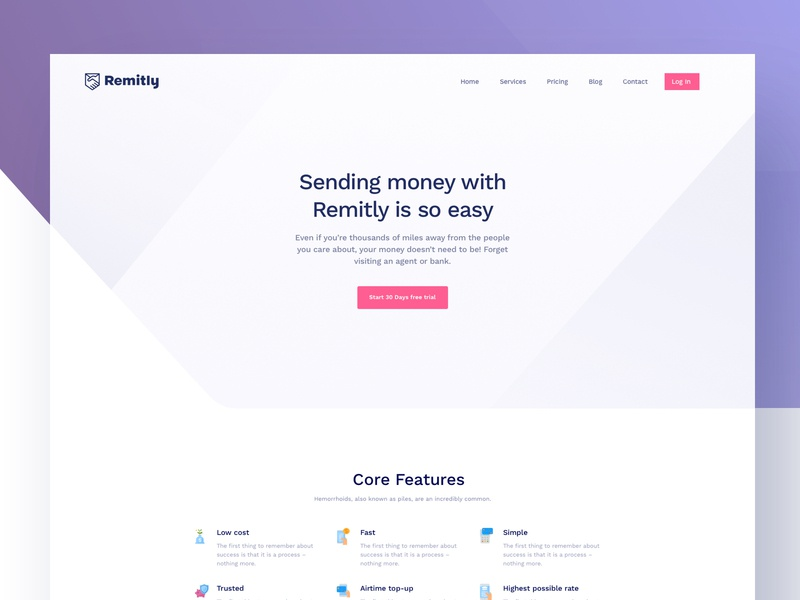 Remitly Inner Page - Full preview unopie design agency google apple microsoft minimal colorful photography creative design ux ui website isometric landing page illustration icon gradient financial desktop dashboard product landing page credit debit card remittance currency transection user flow journey