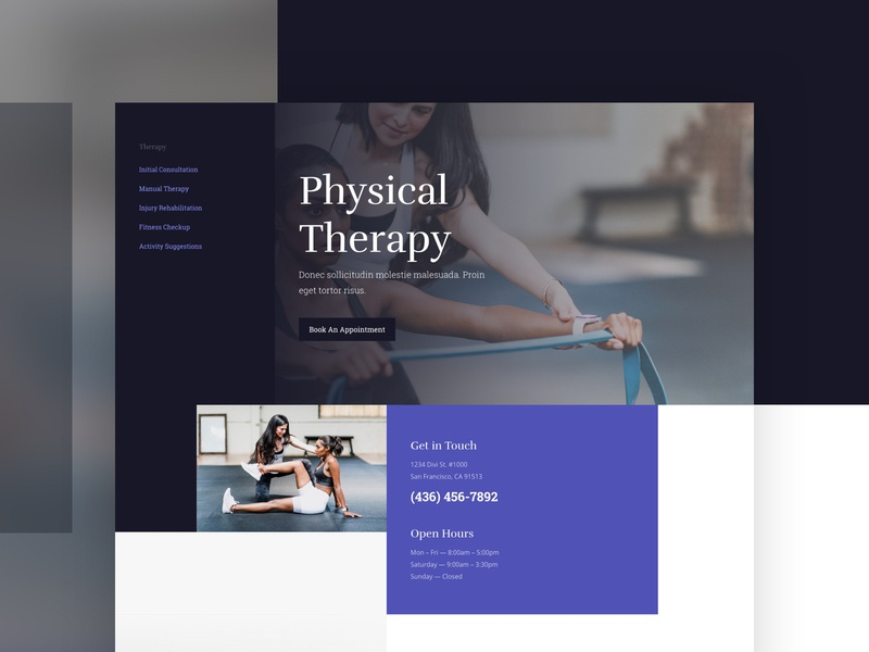 Physical Therapy | Divi Layout landing page website minimal physical therapy physician doctor medical creative layout web theme design theme cms wordpress