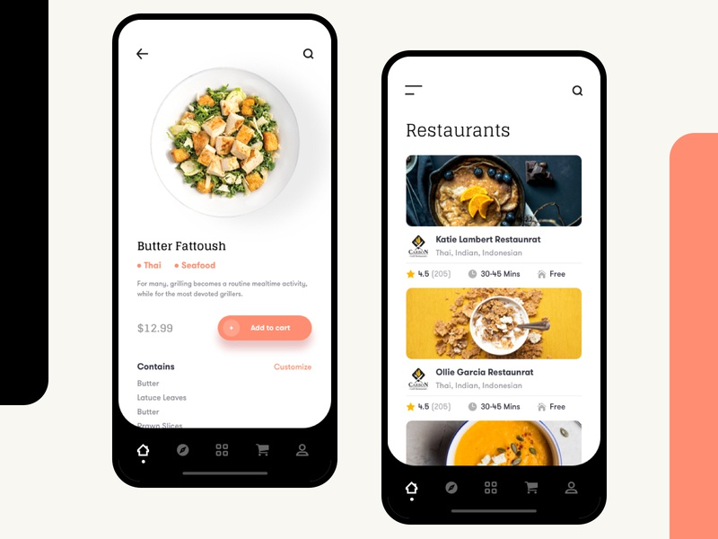 Restaurant Mobile Application UI restaurant app food application re-branding re-design 2020 2019 2018 resolve colorful design ux ui visual ios android hybrid interaction design motion design mobile phone icon design round button shape ui dashboard illustration minimal vector typography creative