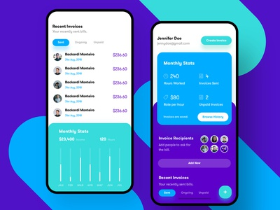 Invoice management and creation - Mobile Application UI