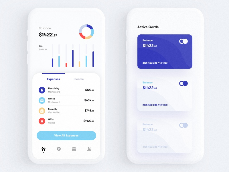 Finance & Banking App finance banking transection expense income statistics app  bank  card statistics  ui  ux animation  chat  credit interaction  ios  loan material  money ios hybrid mobile phone account  banking  bitcoin dark  data  interface iphone x pixel google apple microsoft 2019 2020 trend design craft human