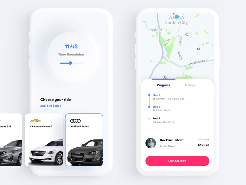 Premium Ride - Mobile Application UI uber doordash lyft ride car automobile creative typography minimal ui dashboard round button shape icon design mobile phone motion design interaction design ios android hybrid ux ui visual colorful design resolve 2020 2019 2018 re-design re-branding s10 ios 11 galaxy topboard score game