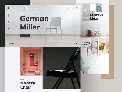 Furniture - Interior Decor Shop Website web fashion chair sofa divan furniture store colorful landing page design creative minimal website ux ui