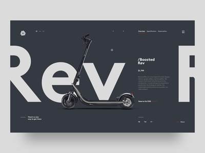 Boosted Rev Scooter product page clean ui typography minimal web design