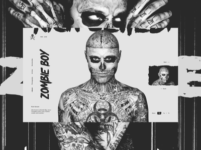 Zombie Boy - Rick Genest tattoos fashion black and white dark clean web design typography minimal