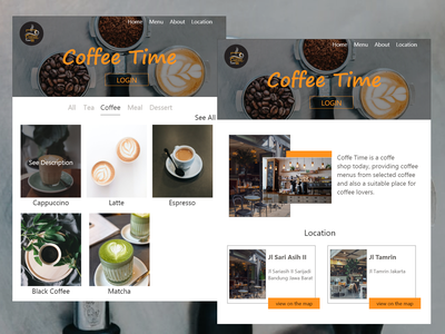 Coffe Time platform design platform color web design it uidesign ui study adobe xd ipad webdesign website colors