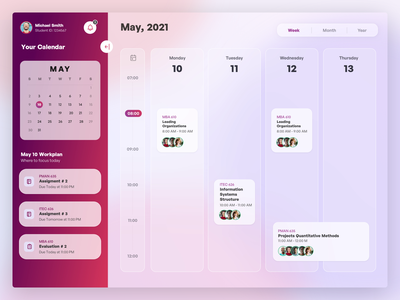 Student Portal Calendar meetings planning timeline agenda glassy glass effect ux ui schedule plan courses education calendar