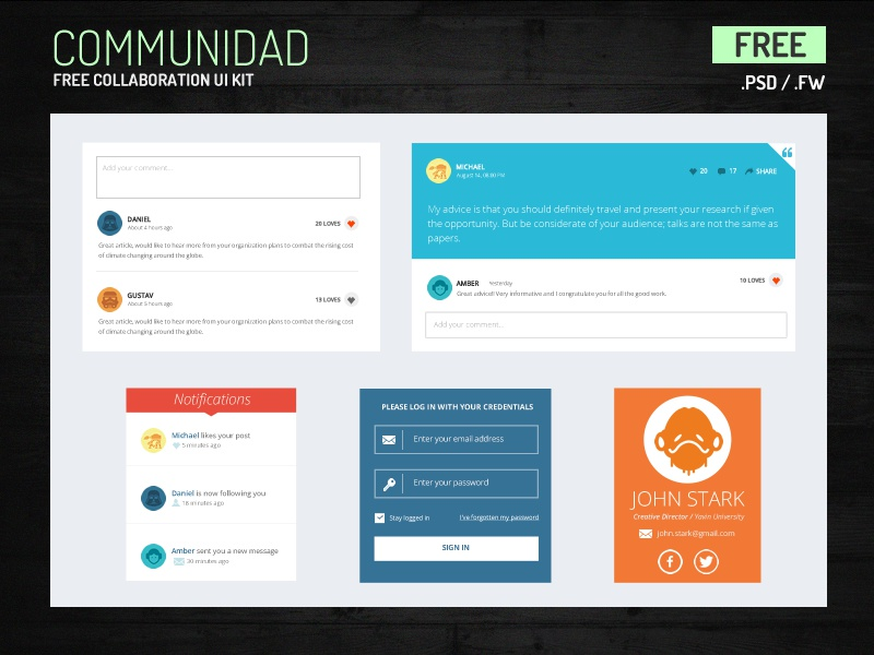Free PSD UI Kit for Collaboration ui freebie psd collaboration flat login fireworks feed notifications widget comments uploader