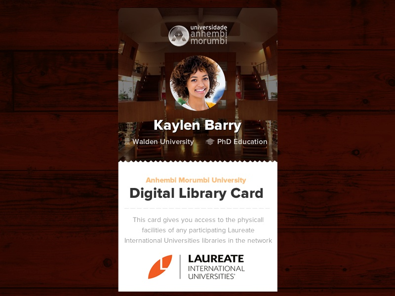 Digital Library Card card library profile