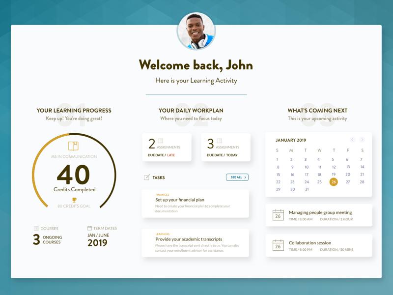 E-learning Portal | Student Dashboard progress workplan assignments calendar dashboard elearning education