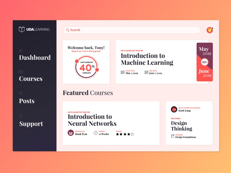 Freebie: E-Learning Courses Dashboard [Sketch] rubik playfair display sketch freebies freebie dashboard elearning ui education courses