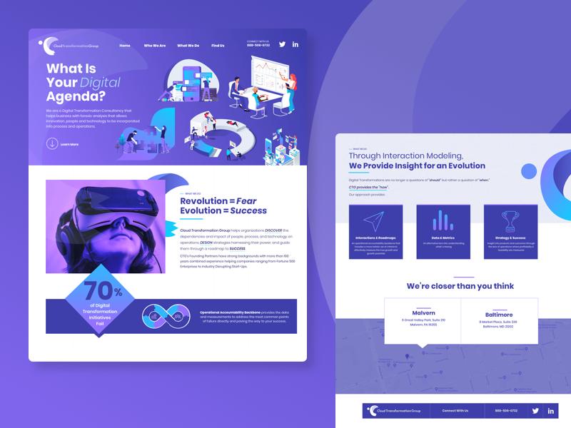 Consultancy Agency Homepage hero gradient onepage ui homepage landing