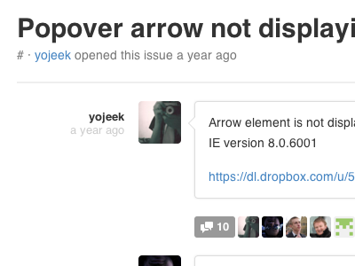 Popover arrow not displaying in ie8  v2.1.0   issue  4852   twitter bootstrap   github