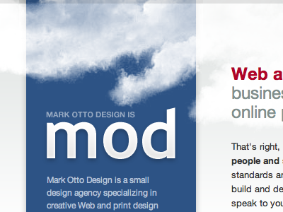 mod blue clouds mod mdo red gray html css