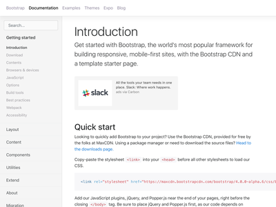 Bootstrap 4 throwback open source docs css bootstrap