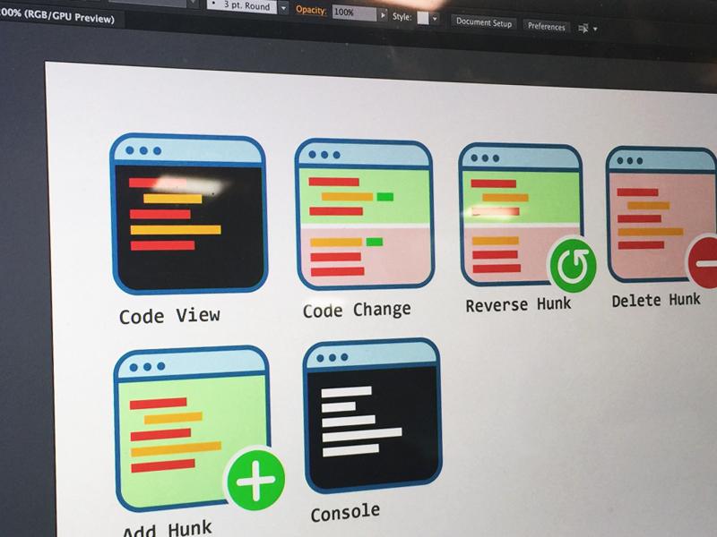 Git Command Icons sub version ui design illustrator git code icons