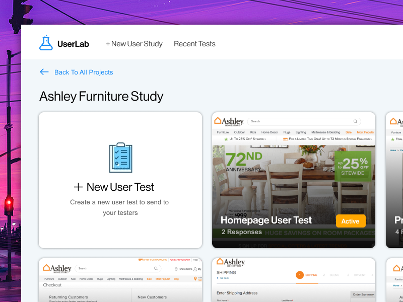 User Lab - New Study Page figma study test dashboard ux user test ui