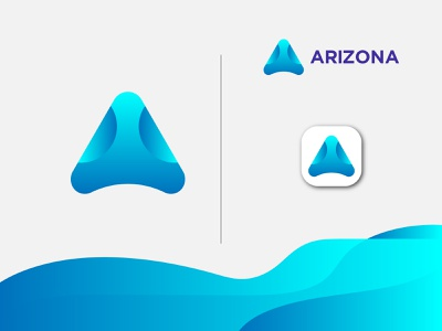 A Letter Logo - Arizona Logo gradient illustration typography logotype 3d symbol icon mark vector geometric colorful creative lettermark lettering typeface logo design logo branding identity app icon design ui ux alphabet monogram