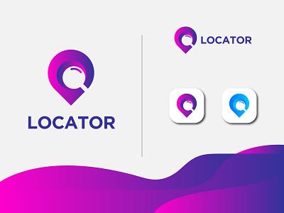 Modern Locator Logo (Unused) logo design creative modern colorful search pin minimalist map logo location identity gps find location corporate business branding app