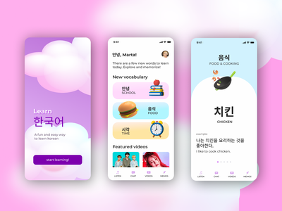 Concept design for korean-learning mobile application cute illustration language learning language app learning app 3d ui concept concept design mobile app design kawaii pink mobile design mobile ui