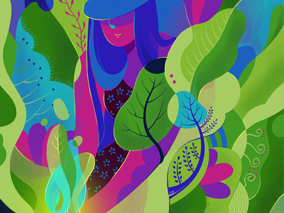It is about nature and everything..... (more Details) green grow lady artwork design editorial art illustration nature