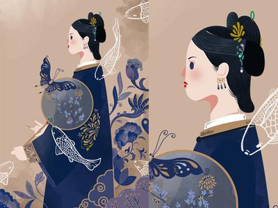 Story of Yanxi Palace poster jayekang yanxi palace butterfly fish beautiful woman art traditional chinese story design illustration