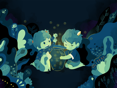 The Fireflies of early summer editorial art design childhood memory nature firefly book illustration kid child