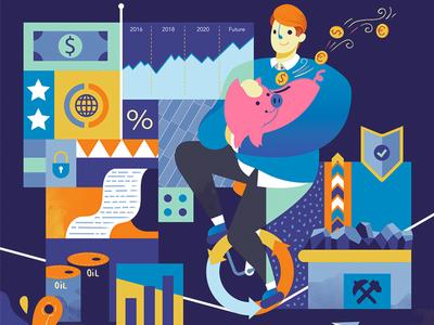 Investment and Safeguards piggybank colorful material digram finance editorial design magazine illustration safeguard safe