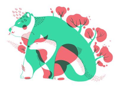 Walk Along jayekang digital print wolf bear illustration animal