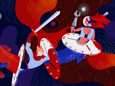 Life after Lives 轮回 digital dragon robot future editorial life fighter time illustration art illustration