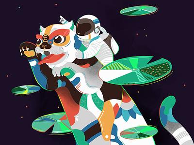 Space Tiger goal king lotus art pattern space astronaut tiger illustration